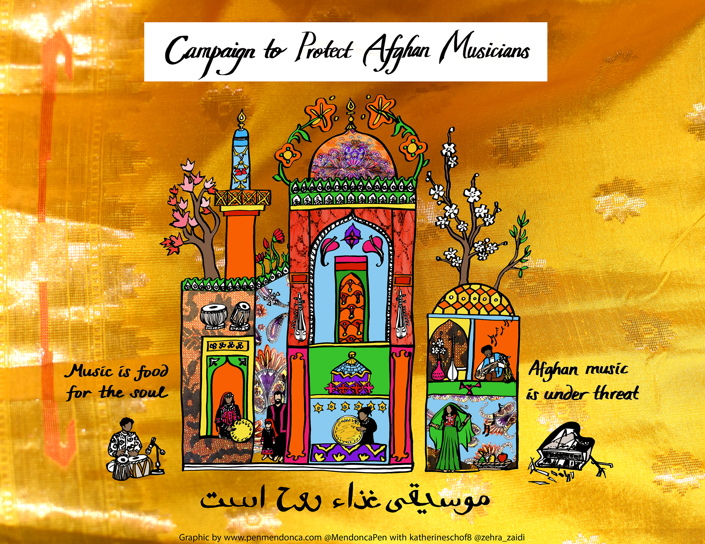 Cartoon-style graphic of Afghan musicians in a series of rooms playing instruments with the straplines Music is Food for the Soul and Afghan Music is Under Threat. Copyright Pen Mendonca.